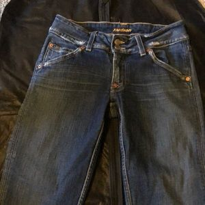 "Hudson bootcut jeans, size 30. Inseam is 29""."